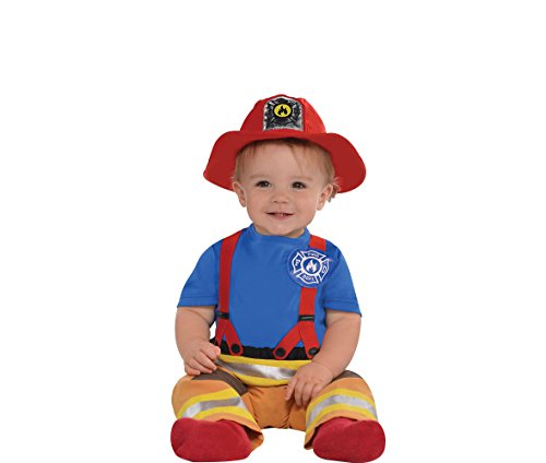 AMSCAN Baby First Fireman Costume for Infants, 12-24 Months, with Included Accessories