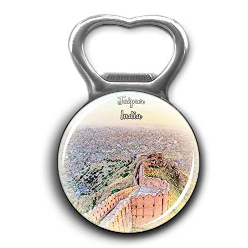 Nahargarh Fort Jaipur India Opener Metal Fridge Magnet Crystal Glass Round Beer Bottle Opener City Souvenir Home Kitchen Decoration Gifts ()
