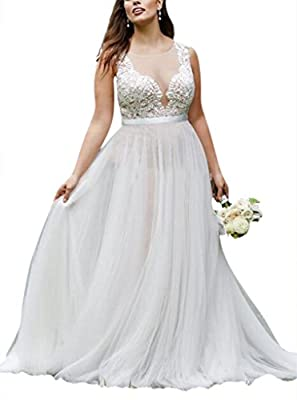 YXJdress Plus Size Lace Wedding Dresses Vintage Beach Bridal Gowns