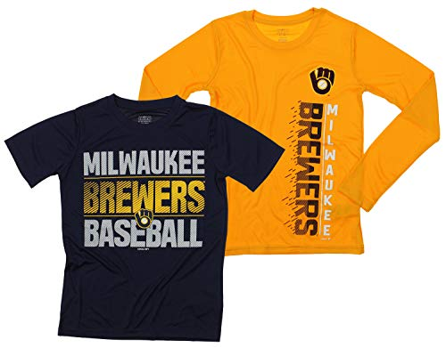 Outerstuff MLB Boys Young Baseball Fan Two Performance T-Shirt Set, Milwaukee Brewers, Medium 10-12 ()