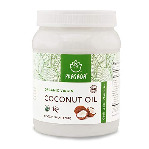 Prasada Organic Virgin Coconut Oil (52oz) | Cold-Pressed, Non-GMO, Single Origin | Perfect for Baking, Frying, Grilling and Cosmetic Application