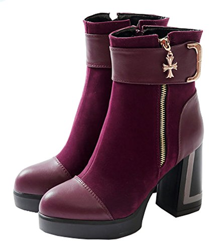 CHFSO Womens Fashion Round Toe Zipper Charms High Chunky Heel Platform Ankle Martin Boots Wine Red crMkQ1Axl