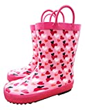TQ Homebase Rubber Girls and Boys Rain Boots Hearts with Easy on Handles Little Kids Size 12 M