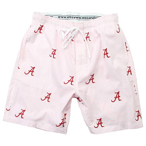 Wes and Willy NCAA Mens Seersucker Beach Shorts (XX-Large, Alabama Crimson Tide)