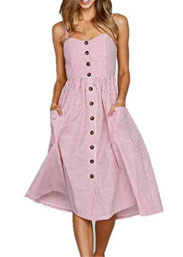 Summer Striped Dresses for Women Spaghetti Strap Midi Button Down Swing Dress Large 913-pink ()