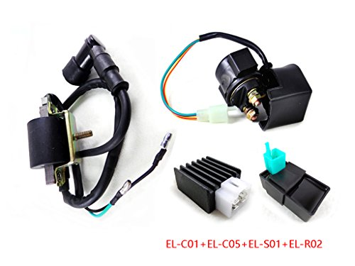Electric System Components For 50Cc 70Cc 90Cc 110Cc 125Cc Atv Quad Dirt Bike Go Kart Scooter Cdi Box Ignition Coil Voltage Regulator Rectifier Starter Relay Solenoid Combo
