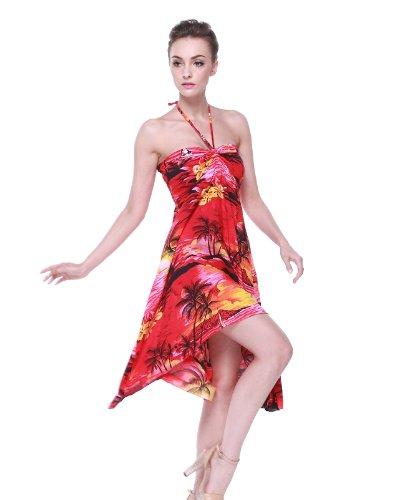 Vestito da donna luau abbinato alla signora Vestito a farfalla Aloha e Infradito in rosso tramonto Farfalla Vestito XL Sandalo 6