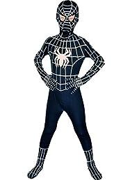 Boys Evil Black Spiderman Costume Kids Superhero Cosplay Lycra Full Bodysuit Zentai L