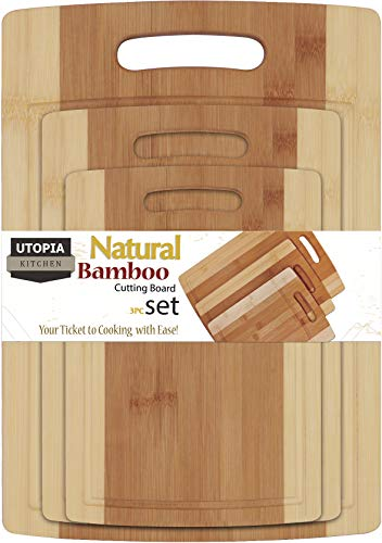 (Utopia Kitchen Natural Bamboo Cutting Boards with Juice Grooves - Wooden Cutting Boards 3 Piece Set )