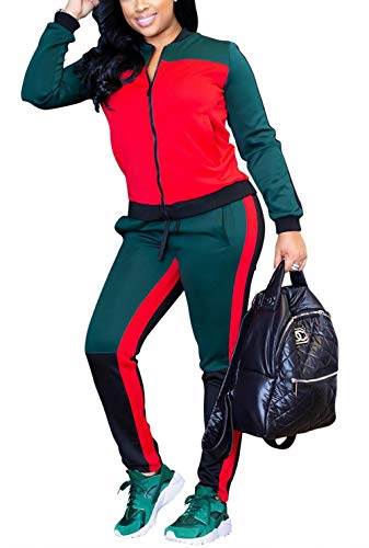 Lucuna Women's Casual Long Sleeve Patchwork Zip up Jacket Outfits and Drawstring Striped Bodycon Long Pants Set Tracksuits from Lucuna