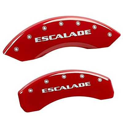 MGP Caliper Covers 35015SESCRD 'ESCALADE' Engraved Caliper Cover with Red Powder Coat Finish and Silver Characters, (Set of 4): Automotive