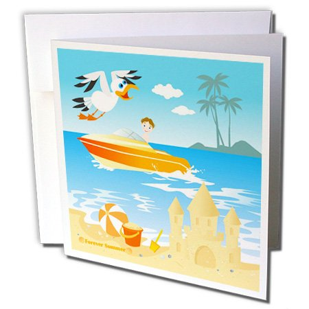 3dRose Belinha Fernandes - Summer at the beach - Summer boy at a tropical beach, riding a boat, near sand castle and seagull - 12 Greeting Cards with envelopes (gc_156606_2)
