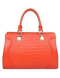 SAIERLONG Women's Cross Body Bag Handbag Tote orange Cow Leather - CROCO Crocodile Embossing