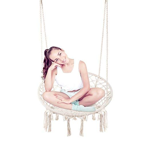 E EVERKING Hammock Chair Macrame Swing, Hanging Cotton Rope Macrame Hammock Swing Chair Indoor, Outdoor Home, Patio, Porch, Deck, Yard, Garden, Max Weight: 260 pounds (White) by E EVERKING
