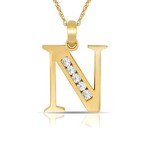 JewelryWeb Solid 14k Yellow Gold 18-Inch Small Channel-Set (A-Z) Cubic Zirconia Initial Pendant Necklace (7mm x 14mm) (Initial: N)