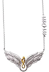 Sterling Silver Angel Wing MOM Diamond Necklace for Mother's Day (1/5 Carat)