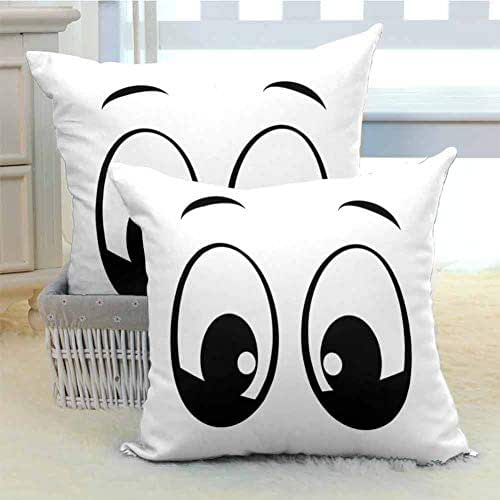 Eye Microfiber Sofa Cushion Cover Bedroom car Decoration Surprised Look a Cute Cartoon Character Amazed and Startled Childish Design for Kids Soft and Breathable W14 x L14 inch x 2 Black White