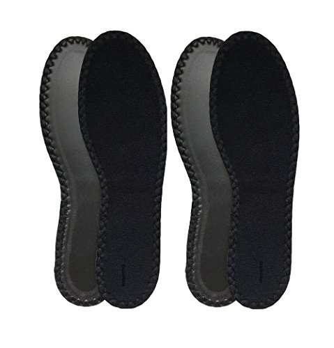 HappyStep® 2 Pairs Terry Insoles The Best Barefoot Insoles, Ideal for Walking, Jogging and Running in All Seasons, Washable and Reusable, Black (Women Size 6)