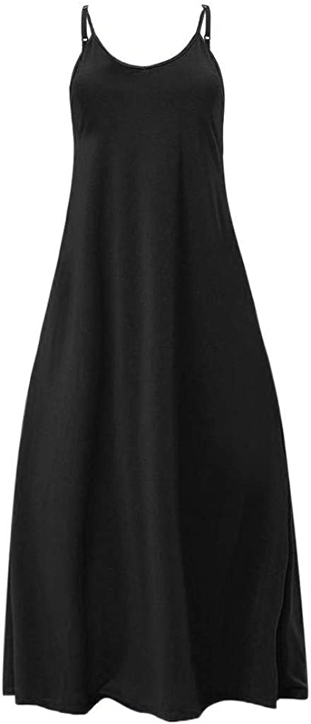 Ladies O-Neck Sleeveless Pockets Ankle Length Party Dress Sttech1 Women Plus Size Casual Dress