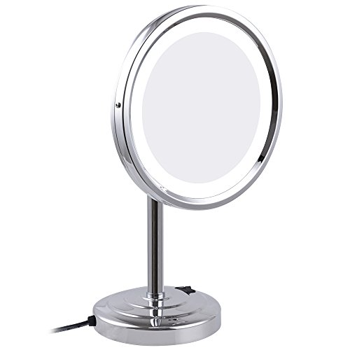 GURUN 8-Inch Tabletop Swivel Vanity Mirror with LED Light 7x Magnification, Chrome Finish M2209D(8in,7x) by GURUN