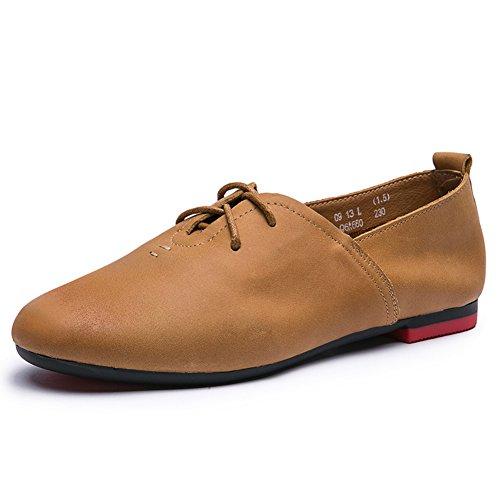 otoño vintage/cordón redondo plano/Zapatos de las señoras/Zapatos de fondo suave C