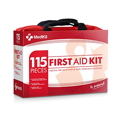 MediKit Deluxe First Aid Kit (115 Items) The Most Essential First Aid Supplies for Home, Sports, Travel, Camping, Office and The Workplace ... (Red)
