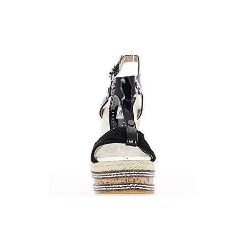 Negro cuña sandalias offset de 14,5 cm y meseta