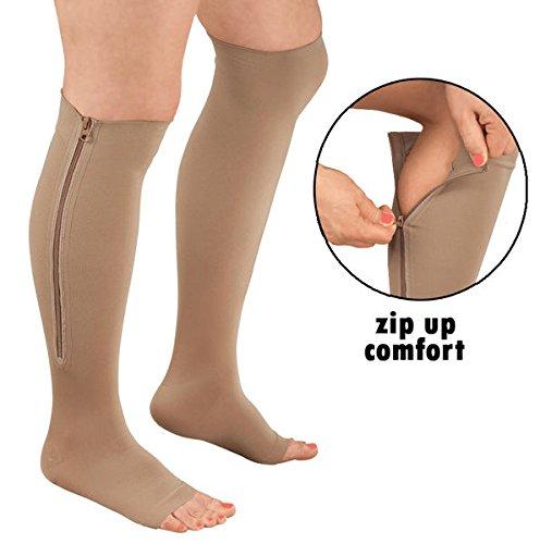 Zipper Compression Socks (S-M, Nude)