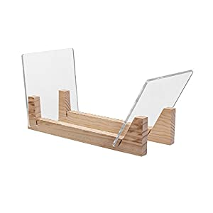 """KAIU Vinyl Record Storage - Solid Wood with Crystal Clear Acrylic Holder - Premium Design, Perfect 12"""" LPs or 7"""" Singles Display Unit - Stores and Supports up to 50 Albums (Natural)"""