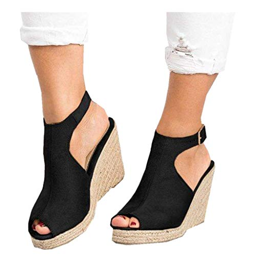 Women's Platform Wedge-High Sandals Strappy Open Toe Espadrille Ankle Strap Buckle Shoes (Black2, US:8.0)