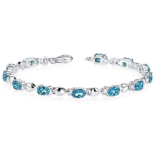 (London Blue Topaz Bracelet Sterling Silver Rhodium Nickel Finish 5.50 Carats Classic Design)