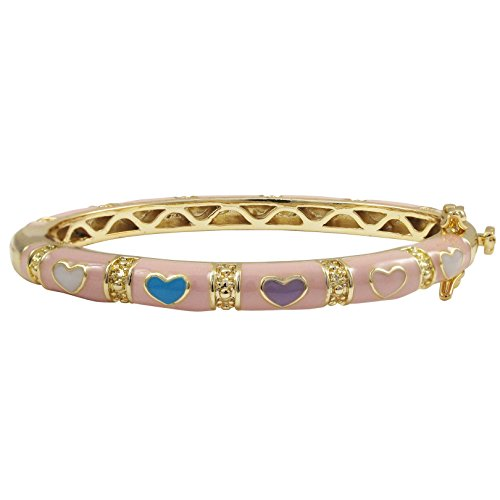 (Ivy and Max Gold Finish Pink Enamel Multi Hearts Girls Bangle Bracelet (42 mm: Age 1-6)