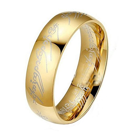 WensLTD Lord of The Rings Stainless Steel Bilbo's Hobbit Gold Ring (21mm, Gold) (Lord Of The Rings Uruk Hai Theme)