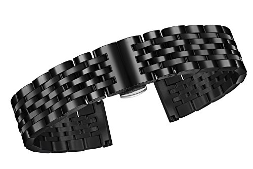 - 23mm Premium Black Metal Straps for Watches 316L Stainless Steel with Solid Links Brushed Clasp