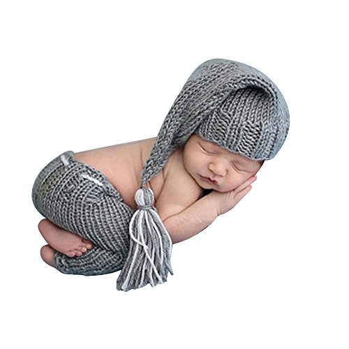 (ISOCUTE Newborn Baby Boy Photography Outfit Photo Props Gray Cute Long Tail Hat Beanie)