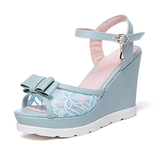 AmoonyFashion Womens Soft Material Peep Toe High Heels Buckle Solid Sandals Blue 3hGA5g7c