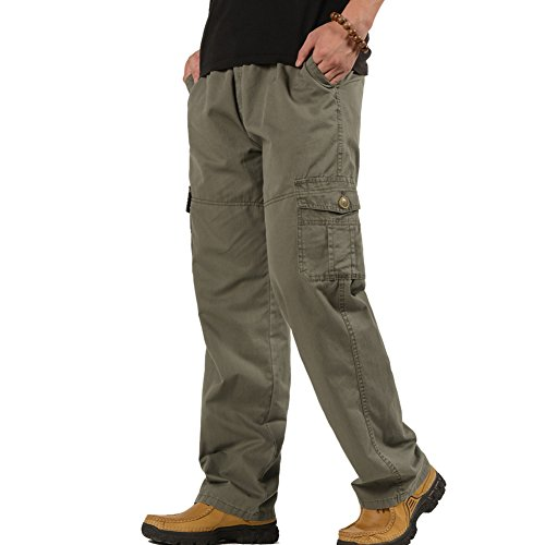 Deofean Mens Full Elastic Waist Lightweight Multi Pockets Pull On Casual Pant