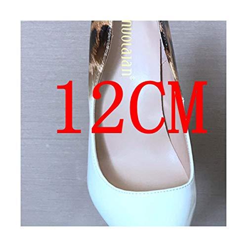CLERO& 8/10/12CM Thin Heels Women High Heel Shoe Leopard Patent Leather Ladies Pump Shoes Woman Shallow Wedding High Heels Womens Pumps BAIbaowen12 7