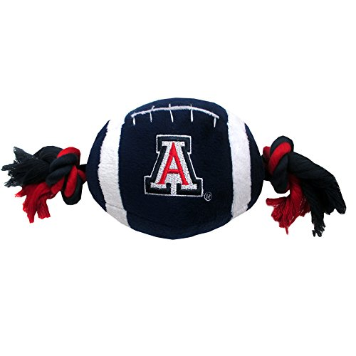 (NCAA Arizona Wildcats Pet Football Rope Toy, 6-Inch Long Plush Dog Toy with Inner Squeaker)