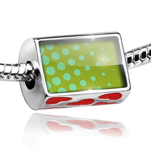Bead with Hearts Green dotted pattern - Charm Fit All European Bracelets, Neonb
