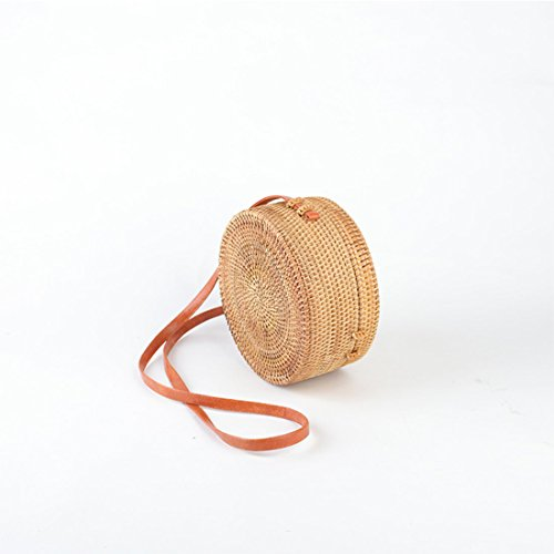 UNYU Clasp Bag Bow Rattan Ata Woven Round Shoulder Handwoven with Women Bag AnwrUAB