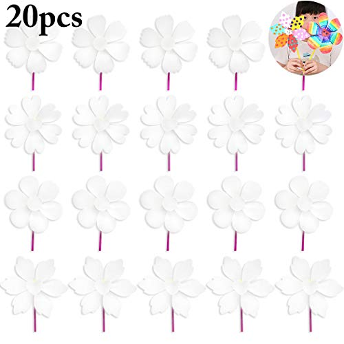 Joyibay 20 Sets Kids Pinwheel Toy Creative DIY Blank Wind Spinner Wind -