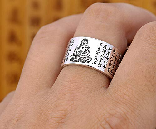 (Genuine Buddhism 999 Pure Silver Heart Sutra Prajna Paramita Finger Ring Chinese Pure China Lady Woman Girl Man Tibetan Buddha Figure Statue Tibet Style)
