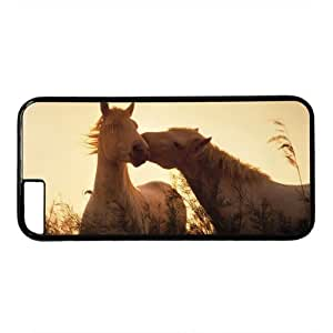 "Two Horses Kissing Theme Case for iPhone 6 Plus (5.5"") PC Material Black"