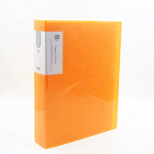 80-Pocket Business A4 Sheet Presentation Book, 160-Page Capacity for A4 and Letter Size Inserts Available for Report Sheets, Artworks, Music Sheets, Clippings (Orange