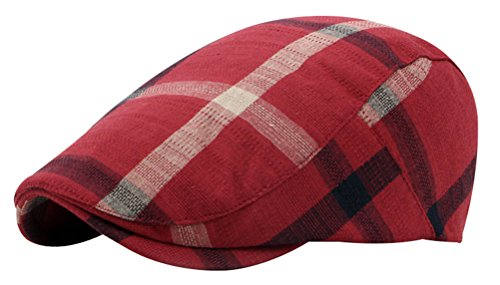 Patchwork Ivy Hat (Bellady Womens Multicolor Plaid Patchwork Buttoned Duck Bill Newsboy Ivy Cap,Red_1,One Size)
