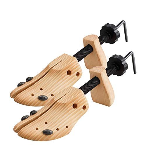 2 Way Cedar Shoe Trees Wooden Shoe Stretcher,Adjustable Large Size for Men and Women, Wood Shaper Set of 2 Stretches Length & Width,Womans Size 10 to 13.5 Mans Size 9 to 13.