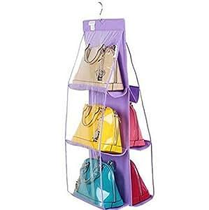 6 Pocket Washable Hanging Transparent PVC Purse Handbag Holder