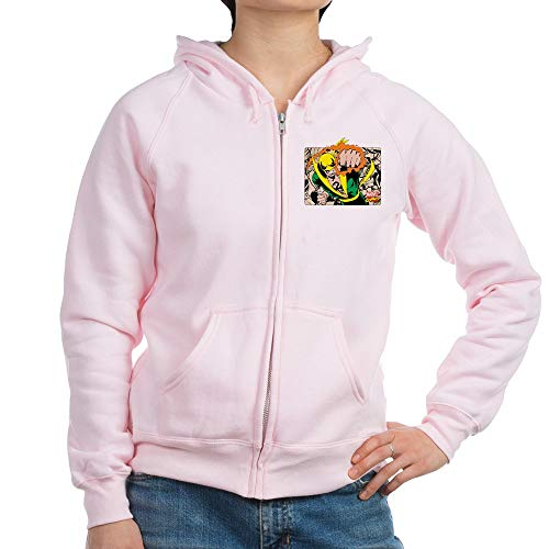 CafePress Retro Marvel Iron Fist Womens Zip Hoodie, Classic Hooded Sweatshirt with Metal Zipper Pale Pink
