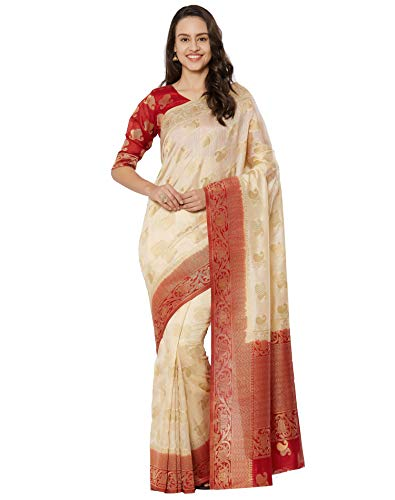 Viva N Diva Sarees for Women's Banarasi Kanchivaram Silk Cream Saree with Un-Stiched Blouse Piece,Free Size